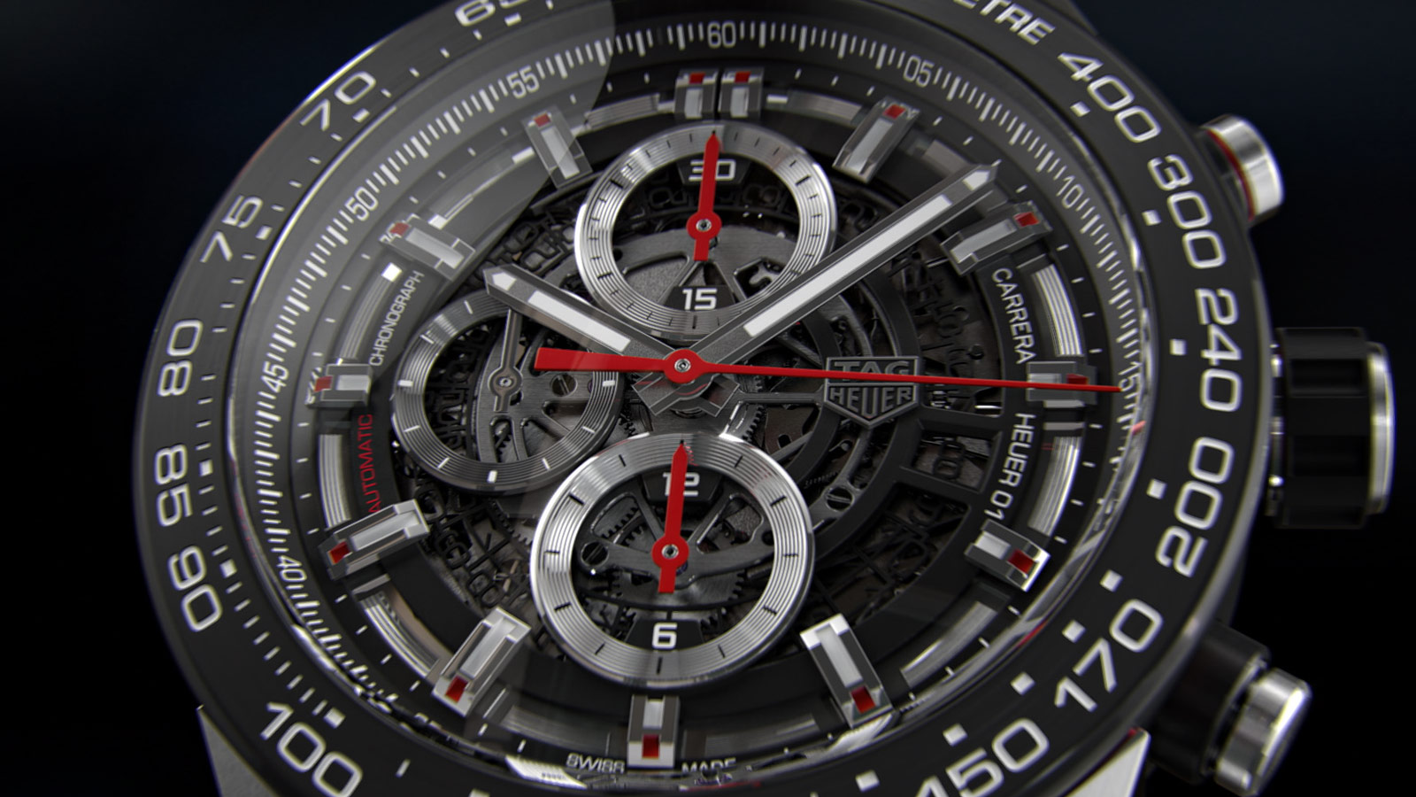 138bee1fced The CH01 opening the film LET VIEWERS EXPERIENCE THE TAG HEUER mechanical  watch MATERIALS AND FINISHINGS